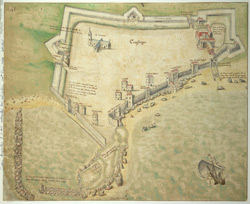 A Coloured Plan or Bird's Eye View of Carrickfergus